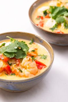 A quick and easy fish stew recipe. The monkfish and prawns are gently poached in a creamy coconut broth and topped with plenty of fresh coriander.