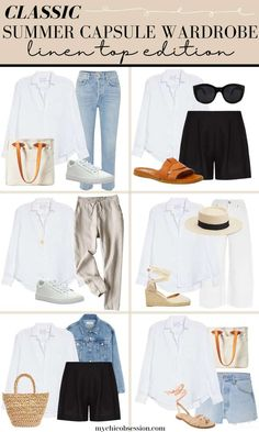 Capsule Wardrobe Women, Capsule Outfits, Summer Wardrobe, Simple Summer Outfits, Camping Outfits For Women Summer, Sophisticated Outfits, Outfit Combinations, Classic Outfits, Spring Summer Fashion