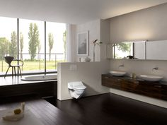 Discover the Geberit AquaClean bathroom inspirations and pick up attractive ideas for your own bathroom. Bad Inspiration, Bathroom Inspiration, Corner Bathtub, Shower, Mirror, Furniture, Design, Home Decor, Aqua