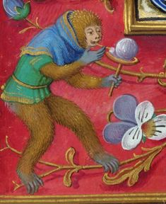 Detail from a full border of a monkey playing a game (possibly blowing bubbles?), from the Isabella Breviary, Southern Netherlands (Bruges), late 1480s and before 1497, British Library, Additional 18851, f. 470v