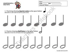 DRAW THOSE NOTES!  Practice Sheet Drawing Quarter Notes & Half Notes! from MARLEYMOZART.AResourceforTeacherstoSharetheWorldofMusic! on TeachersNotebook.com -  (1 page)  - Practice Drawing Quarter Notes and Half Notes- Great for Assessing and Review!