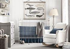 babyzimmer vintage gestaltung junge maritim blau hellgrau