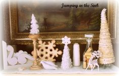 White and Cream Mantel Display for Christmas | Jumping in the Sink