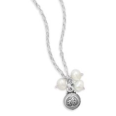 "16"" + 1"" ""Blessed"" Cultured Freshwater Pearl Charm Necklace"