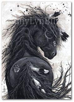 Majestuosos caballos Friesian guerra pintura por AmyLynBihrle