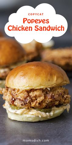 A copycat Popeyes chicken sandwich is easy to make and perfect for a family dinner. This chicken sandwich has a delicious crust and is easy to make, perfect for any weekday or weekend. These sandwiches will be loved by kids and adults. #chickensandwich #popeyeschickensandwich Amazing Recipes, Yummy Recipes, Soup Recipes, Chicken Recipes, Dessert Recipes, What's Cooking, Cooking Recipes, Popeyes Chicken, Good Food