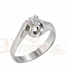 Μονόπετρo δαχτυλίδι Κ18 λευκόχρυσο με διαμάντι κοπής brilliant - MBR_057