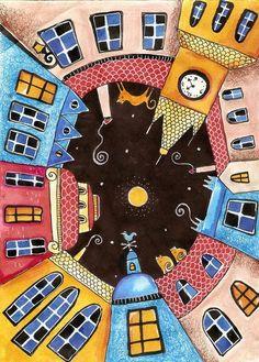 Night in Prague - Mosaic - Middle School Art, Naive Art, Easy Paintings, Silk Painting, Whimsical Art, Art Plastique, Elementary Art, Teaching Art, Art Education