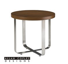 The Artesia End Table by Allan Copley is stylish and functional with a wood stop and brushed stainless steel metal base