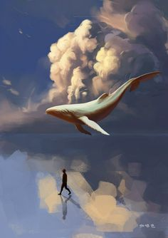 Painting of a white humpback whale floating between the sea and a bank of clouds. Surreal.