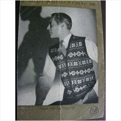 "p knitting pattern 288 mens fair isle cardigan Chest 38"" - 40"""