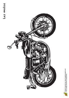 coloriage d un dessin illustrant un pilote debout sur son moto cross coloriages de motos et. Black Bedroom Furniture Sets. Home Design Ideas
