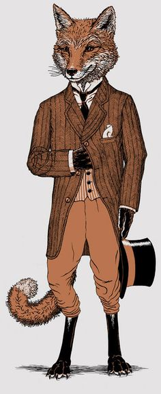 Dapper Fox Tshirt on silver Men's animal by ScatterbrainTees