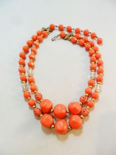 Vintage Orange Lucite Necklace/Collar/Choker Double Strand 1950's Art Deco Retro #Unbranded #Collar