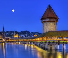 Photograph - Chapel Bridge Or Kapellbrucke, Lucerne, Switzerland by Elena Duvernay Places In Switzerland, Lucerne Switzerland, Top Place, The Good Place, Great Hotel, Camping Car, Famous Places, Night Photography, Cool Places To Visit