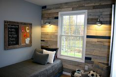 Pallet wall for boy's room