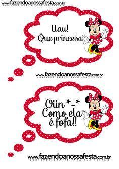 Lindas plaquinhas divertidas gratuitas para você usar na sua festa com o Tema Minnie Vermelha!