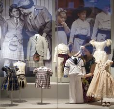 thebritishnobility:  Royal Childhood Exhibition, Buckingham Palace-Clothing worn by young royals including Prince Charles (center left), Prince Harry (center right), and the outfits worn by Prince William (front right) and Zara Phillips (front far right) as attendants at the wedding of their uncle Prince Andrew in 1986
