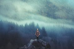 girl rock person landscape trees portrait rain clouds mountains nature forest woman mist canada low Woods mountain misty fog foggy cloudy vancouver bc standing rainy on top Alouette Lake pocho Britisch Columbia Wold Hat Landscape Photography, Nature Photography, Photography Tips, The Misty Mountains Cold, Grain Of Sand, The Great Outdoors, Arches, Lightroom, Breathe