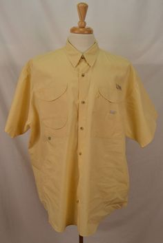 Columbia PFG omni shade men XL short sleeve button cotton vented yellow shirt #Columbia #ButtonFrontShirt
