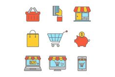 Online shopping outline flat icons by Saggitarius on @creativemarket