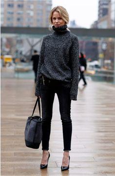 black jeans, grey sweater, black pumps, color-block bag ☑️