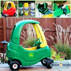 John Deere Cozy Coupe Makeover I want one in pink and one in green for my brother and sister