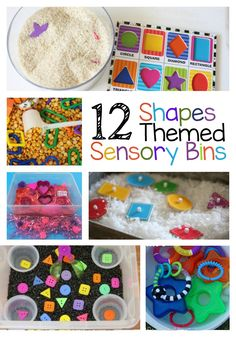These 12 shapes themed sensory bins are sure to help teach your child their shapes. Toddlers will love to explore the different feel of rice, coconut, cotton balls and more while preschool kids will love playing with the bins and exploring the shapes. This allows them to feel the difference between a circle and a square.