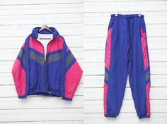 1980s True Vintage Blue Neon Pink Colorblock Zip by MrCoverVintage, $39.00