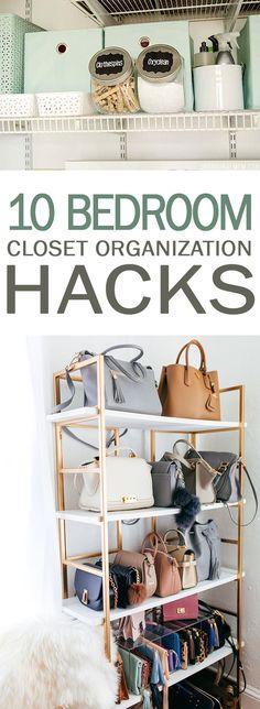 10 Bedroom Closet Organization Hacks - 101 Days of Organization #bedroom #organizing #organize #closetgoals #closet