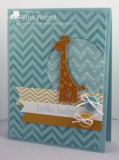 handmade baby card from Rita's Creations ... blue ... chevrons stamped and also done with embossing folder ... like the sanding of the Coredinations chevrons ... stamped and die cut giraffe ... triple fishtail flags with sentiment ... sweet buttons ... great layout ... wonderful card! ... Stampin' Up!