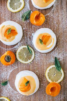 Apricot Curd Lemon Basil Meringues