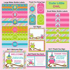 Owl Birthday Printable Party Package - INSTANT DOWNLOAD  Pack Collection / Pink, Cupcake Toppers, Wrapper, Banner, Labels and more