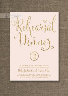 Blush Pink & Gold Wedding Rehearsal Dinner Invitation in soft pastel blush pink and gold glitter by digibuddhaPaperie, $20.00