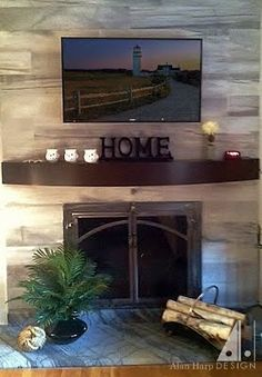 This gently curved mantel shelf fits the bill for a sleek, minimalist contemporary shelf over the fireplace. This design can be modified to to any dim… Custom Fireplace Mantels, Open Fireplace, Fireplace Ideas, Fireplaces, Contemporary Shelving, Mantel Shelf, Custom Furniture, Sweet Home, Minimalist