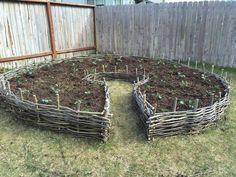 Wattle fence raised bed garden beds                              …