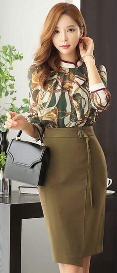 Asymmetrical Hem Side Buckle Pencil Skirt olive green And assymetric eyes. Stop photoshopping so much. It's misleading for both sexes. Mode Outfits, Office Outfits, Fashion Outfits, Womens Fashion, Fashion Trends, Skirt Fashion, Fashion News, Work Fashion, Asian Fashion