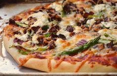 Oh my Lord I died and went to heaven with this one!  Asparagus, Bacon & Goat Cheese Pizza