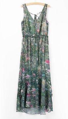 Green Spaghetti Strap Floral Bandeau Dress