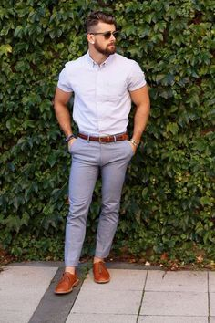 Perfect office look with this Stripped Shirt styled with Grey Pants and Tabacco Leather Derby Shoes