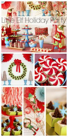 Wait until you see the Christmas decorations and desserts at this elf holiday party! See more party ideas at CatchMyParty.com. #elf #holiday #christmas #party