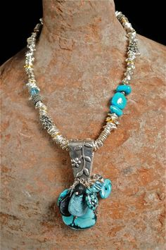 """""""Soul"""", Sterling Silver, Turquoise, Herkimer Diamond, Black Tourmaline, Sparkly Geode, Blue Topaz by Allison Bellows ..."""