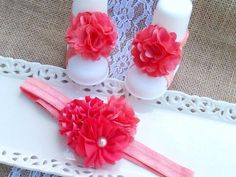 Coral Trio of satin and tulle flowers on an Adjustable Headband with Matching Coral satin and tulle Barefoot Sandals. Headband and Sandals are on 3/8 inch Coral elastic    Headband is adjustable, fits sizes Newborn to Adult    ***Don't forget to choose size for sandals before placing order.***        The Headband that grows with your child!      Custom orders, I do enjoy creating these, if you have an outfit that you would like to have a special piece made for, don't hesitate to ask me, send…