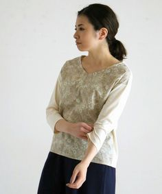 NOMBRE IMPAIR / リバティカットソーコンビ VネックTシャツ(Tシャツ/カットソー) - ZOZOTOWN