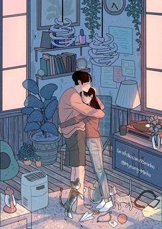 ideas for wallpaper celular fofo casal namorados Cute Couple Drawings, Cute Couple Art, Anime Love Couple, Love Drawings, Aesthetic Art, Aesthetic Anime, Couple Illustration, Illustration Art, Illustrations