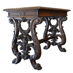 19th Century Italian Hand-Carved Writing Table   From a unique collection of antique and modern desks and writing tables at https://www.1stdibs.com/furniture/tables/desks-writing-tables/