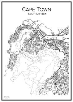 Handritad stadskarta över Kapstaden i Sydafrika. Här kan du beställa stadskarta över din stad och andra svenska samt utländska städer.