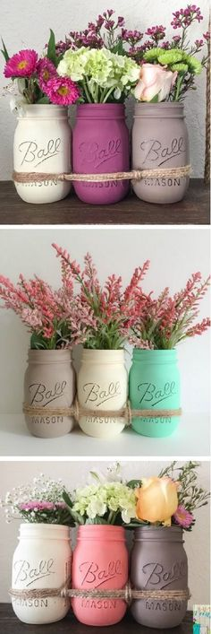 Mason Jars. Distressed Mason Jars. Mason Jars Flower Vase. Mason Jars Centerpiece. #masonjar #spring #springcolors #springflowers #flowers #diy #homedecor #masonjar #affiliate