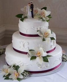 White Orchid Wedding Cake Orchid Wedding Cake, Orchid Cake, Elegant Wedding Cakes, Wedding Cakes With Flowers, Cake Flowers, Wedding Inspiration, Wedding Ideas, Wedding Stuff, Different Flowers