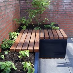 A raised planting bed integrated into a bench. Green Terrace, Green Garden, Outdoor Furniture Sets, Outdoor Decor, Garden Spaces, Raised Beds, Flora, House, Terraces